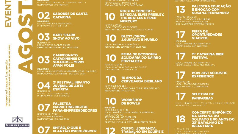 Venha Conferir Os Eventos De Agosto Aqui Em Blumenau